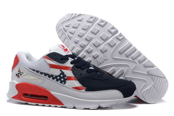 Men's Air Max 90 Shoes White/Blue Red